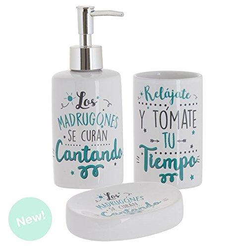 in ceramica lingua italiana non garantita Dcasa/ /Set di accessori da bagno con frasi originali