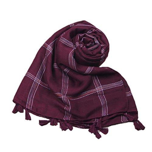 SUKEQ Stylish Soft Warm Cashmere Plaid Cotton Wool Long Scarves, 72.8
