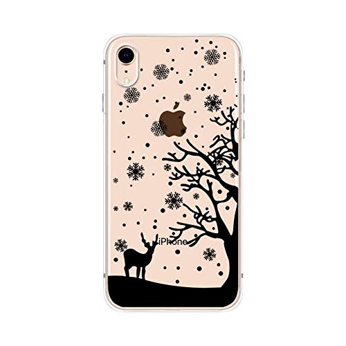 (iPhone Xs Max Case,Blingy's New Fun Wild Life Style Transparent Clear Protective Soft TPU Rubber Case Compatible for iPhone Xs Max(Snowy Deer))