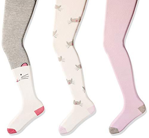 (Amazon Brand - Spotted Zebra Girls' Big Kid 3-Pack Cotton Tights, Kitties, 7-10 )