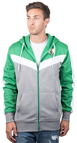 Boston Celtics Men's Full Zip Hoodie Sweatshirt Jacket Back Cut, Large, Kelly Green Celtic Full Zip Jacket