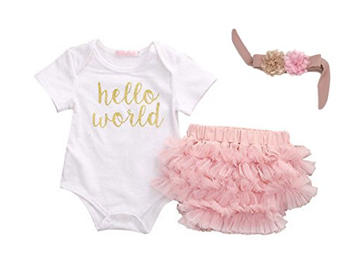 Rush Dance HELLO Cute Baby Boutique WORLD Boys Girls 3 pcs Set (0-3 Months, White Top, Pink Bloomer & Headband)