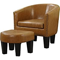 Best Quality Furniture AC179 Barrel Chair & Ottoman Caramel Faux Leather, One Size
