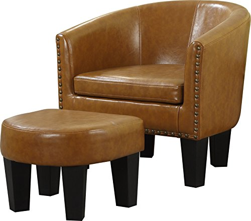 Contemporary Faux Leather Ottoman - 8