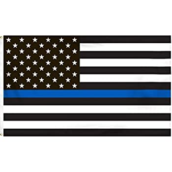 494d8ee720ea7 Thin Blue Line American Flag - 3 by 5 Foot Flag Honoring our Men and Women  of Law Enforcement- Black