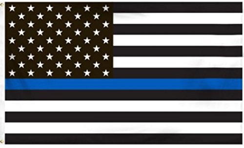 Thin Blue Line American Flag - 3 by 5 Foot Flag Honoring our Men and Women of Law Enforcement- Black, White, and Blue with Brass Grommets