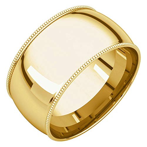 (Bonyak Jewelry 14k Yellow Gold 10 mm Milgrain Comfort-Fit Band - Size 5.5)