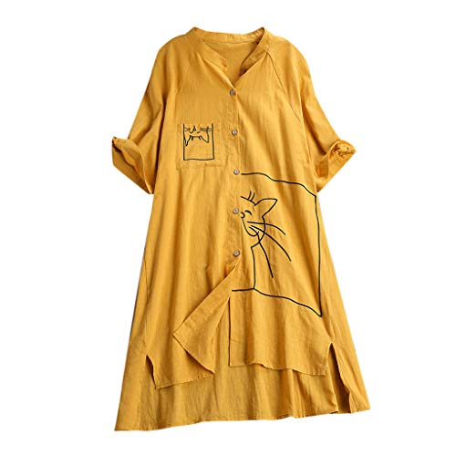 T-Shirt Tops Blouse,Dainzuy Women Short Sleeve Button Cute Cat Print Shirts Top Vintage Loose Pocket Blouses Tee Yellow ()