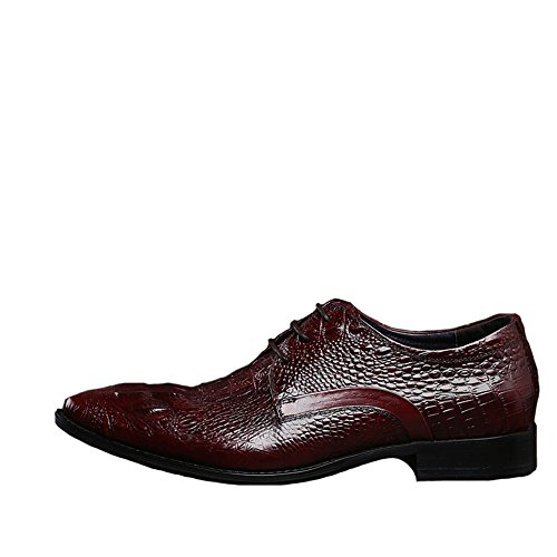 Formal Shoes Lace Men's Red Alligator Santimon up Leather WHfOtFFc
