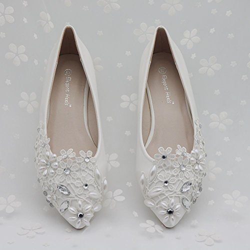 Pointed Shoes Shoes Mouth Thin Lace Flat Women's Rhinestone White Flower Shallow Pearl waxCfqtxA