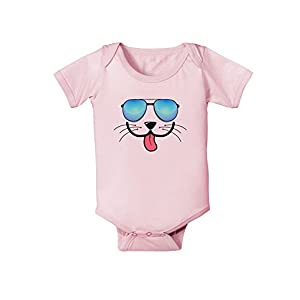 TooLoud Kyu-T Face - Puppino Cool Sunglasses Infant One Piece Bodysuit - Light Pink - 6 Months