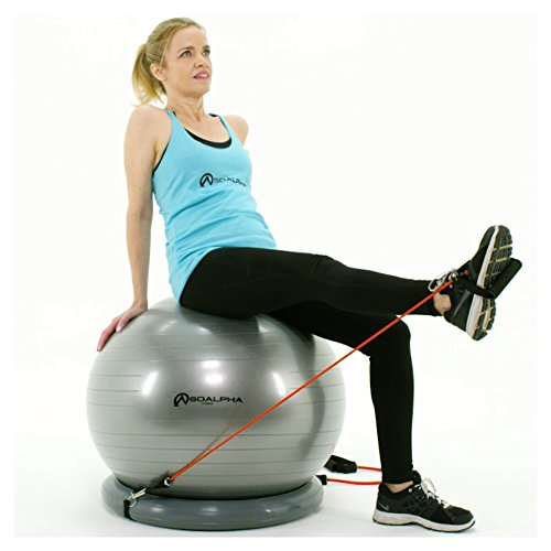Where To Buy Workout Equipment. SoAlpha Premium Exercise Ball with 15LB Resistance Bands, Stability Base, Pump, 65 cm Fitness Ball, Supports up to 600LBS, Stability Ball with Gym Quality Resistance Bands, Complete Home Gym Bundle. #exerciseequipment
