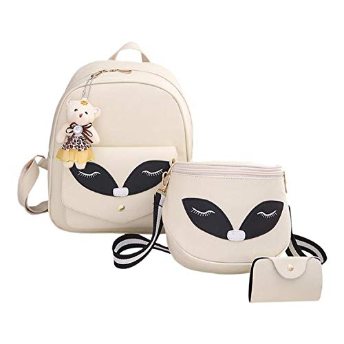 Children 3 Pcs/set Women School Backpacks Waterproof Rucksacks Teenagers Student Book Bag Girls Satchel,Ivory ()