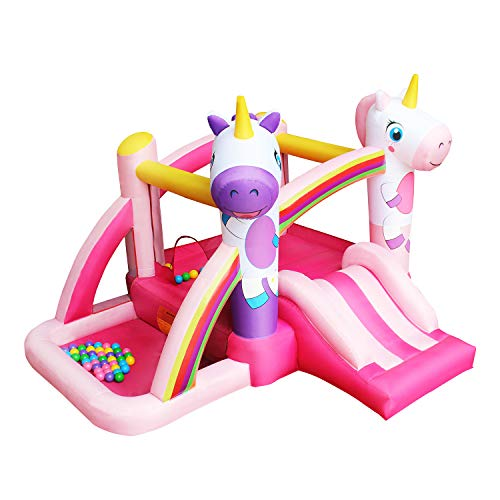 - RETRO JUMP Pink Unicorn Bouncer Rainbow Princess Bounce House Slides Bouncy Inflatable Jumper House with Blower for Birthday Party Gift