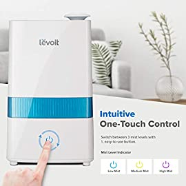 "LEVOIT Cool Mist 9 HIGH CAPACITY: The 1. 1 gal / 4. 5 L water tank allows up to 40 hours of continuous use on the lowest mist setting. On the highest setting, the mist reaches up to 300 mL/hr. , easily humidifying offices, nurseries, and other large rooms WHISPER QUIET: The humidifier's ultrasonic technology operates at a near-silent 28dB. The silent controls and the indicator light's automatic shutoff let you enjoy comfortable, disturbance-free sleep AROMATHERAPY: Add essential oils to the aroma box of our filter-free humidifier to infuse the air with your favorite fragrances. It will fill your whole room with lovely moisture while create a relaxing aromatherapy ambience. Essential oils are available for purchase (Search for ""LVO-6SET"" on ). Note: Do not add essential oils directly to the water tank or base"