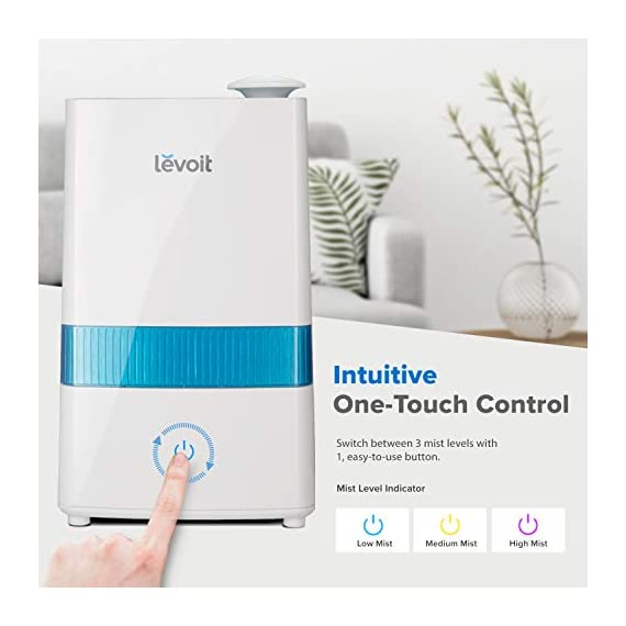 """LEVOIT Cool Mist 1 HIGH CAPACITY: The 1. 1 gal / 4. 5 L water tank allows up to 40 hours of continuous use on the lowest mist setting. On the highest setting, the mist reaches up to 300 mL/hr. , easily humidifying offices, nurseries, and other large rooms WHISPER QUIET: The humidifier's ultrasonic technology operates at a near-silent 28dB. The silent controls and the indicator light's automatic shutoff let you enjoy comfortable, disturbance-free sleep AROMATHERAPY: Add essential oils to the aroma box of our filter-free humidifier to infuse the air with your favorite fragrances. It will fill your whole room with lovely moisture while create a relaxing aromatherapy ambience. Essential oils are available for purchase (Search for """"LVO-6SET"""" on ). Note: Do not add essential oils directly to the water tank or base"""