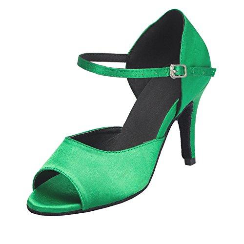 Dance Wedding Style Green Latin Mary Ballroom Minishion Taogo Jane Sandals TH113 Satin Womens w1qqBv