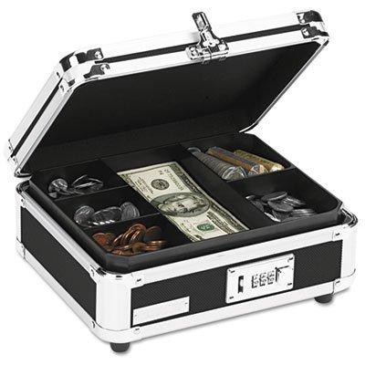 Plastic & Steel Cash Box w/Tumbler Lock, Black & Chrome, Sold as 1 Each ()
