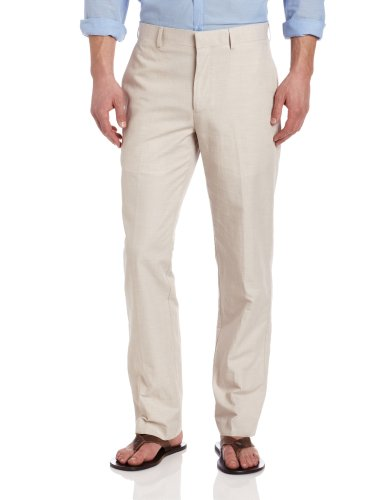 (Cubavera Men's Cotton Herringbone Textured Pant, Natural Linen,)