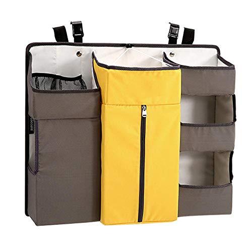 Allgreen Diaper Caddy Storage, Multi-Function Bedside Shelf Nursery Organizer Crib Hanging Bag Diaper Bag Storage Bag, with Straps and Hooks