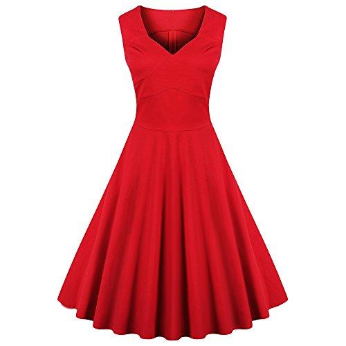 Audrey Hepburn Tea 50s Neck V Red CharMma Dress Womens Retro Rockabilly Swing Length qzTctI