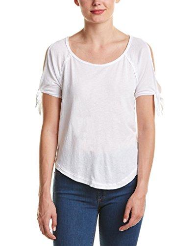 Splendid Womens Tie-Sleeve Cold-Shoulder Top, M, White