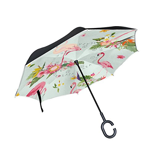 - Trikahan Reverse Umbrella, Flamingo Fashion Floral Print, Outdoor Windproof Double Layer Inverted Umbrella Rain Protection Upside Down Auto Car Reverse UV Umbrellas for Men Women