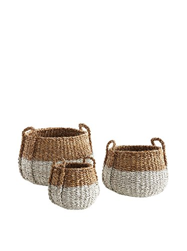 Seagrass Round Basket with Handle, Natural/White, from Porch & Petal
