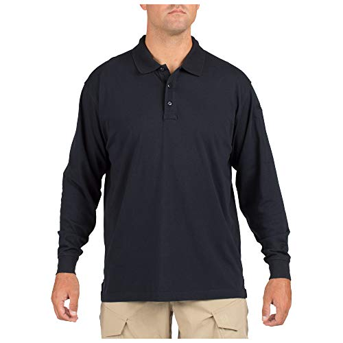 (5.11 Tactical Men's Jersey Knit Long Sleeve Polo, Cotton, Highly Resistant Fabric, Style 72360)