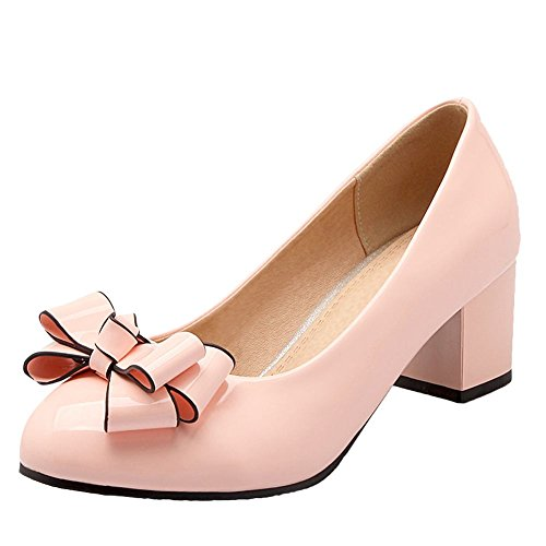 Carolbar Women's Charm Sweet Bow Block Mid Heel Concise Court Shoes Pink qwJ56