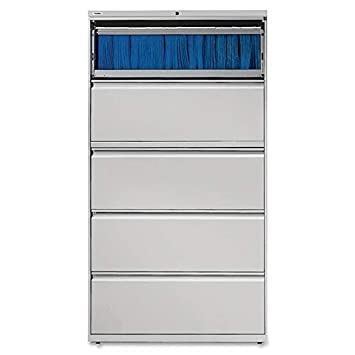 Lorell 5-Drawer Lateral File, 42 by 18-5 8 by 67-11 16-Inch, Gray