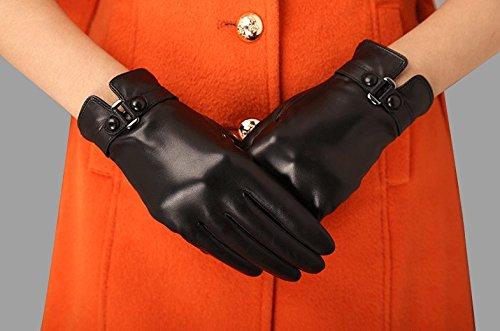 Neue Ankunfts schön Warme Damen-Winterhandschuhe aus echtem Nappaleder, Mode Handschuhe aus weichem Leder warme Handschuhe in klassisch schlichtem Design Damen Lederhandschuhe im Freien Sporthandschuhe Ski-Handschuhe, Camel, Schwarz, gelegentliche Anlieferung