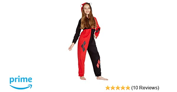 DC Comics Girls Harley Quinn Costume One Piece Union Suit Critter Pajama Outfit