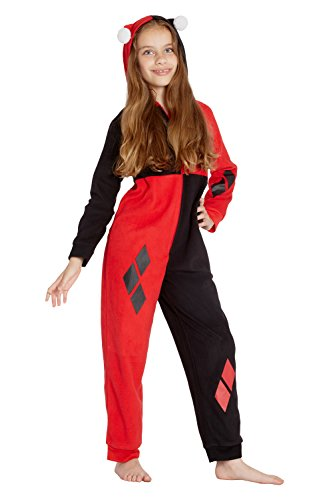 Harley Quinn Costume Holiday Union Suit Onesie, Red,