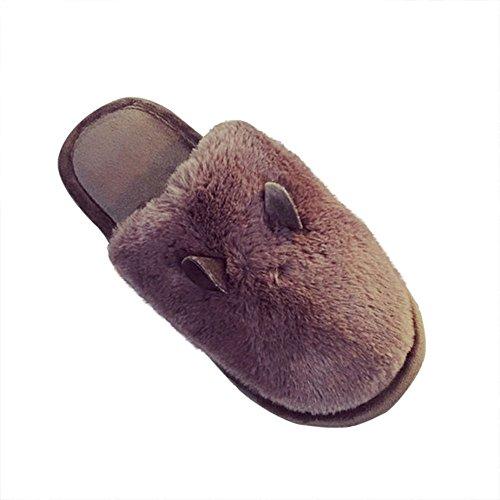 Price comparison product image Bronze Times (TM) Unisex Cozy Fleece House Slippers, Deep Brown US Size6-6.5