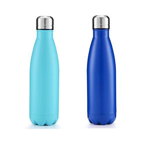 Littlelucifa Thermosflasche, 0,5 l (17 Unzen), mit Isolierung, Doppelwand, aus Edelstahl, auslaufsicher, perfekt für Sommer, Outdoor-Aktivitäten, Sport, Campen, Wandern, Radfahren - Silber Sky/Blue