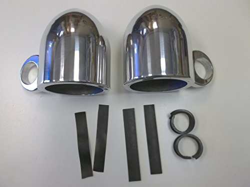 """Polished aluminum speaker cans for 6.5"""" speakers with 2.5"""" clamp for boat or any 2-2.5"""" round tube"""