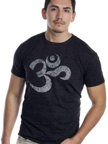 """Super Buddha Men's """"Om Mantra"""" Burnout Graphic Tee, Black, Medium"""