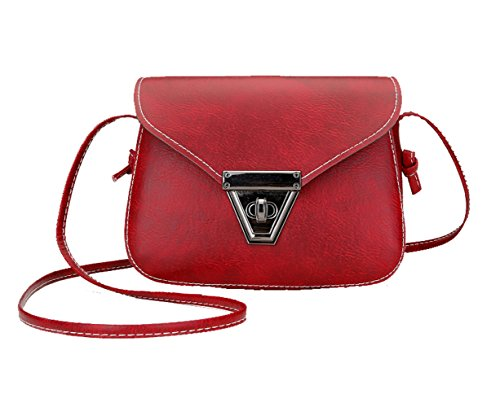 Small Women Shoulder lock Cute Body Synthetic Red Metal bags for OYIGE Cross size Bags Wine qXw4xnAfS