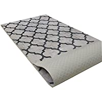 Custom Size Runner Rug Trellis Grey Color 31 inch Wide Select Your Length Non-Slip (Skid Resistance) Rubber Backing 19 feet x 31 inch (Color Options Available)