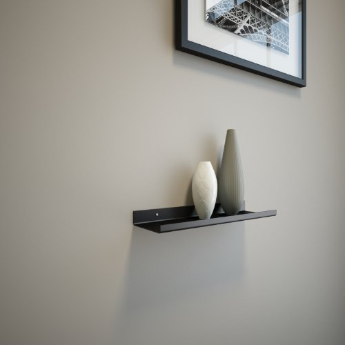 Black Powder Coated Carbon Steel Floating Ledge for Frames, Photos and Pictures, Extra Deep 3.5