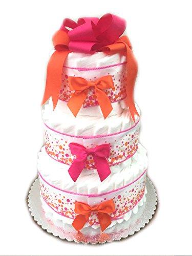 Classic Pastel Baby Shower Diaper Cake (3 Tier, Festival (3 Tier Diaper Cake)