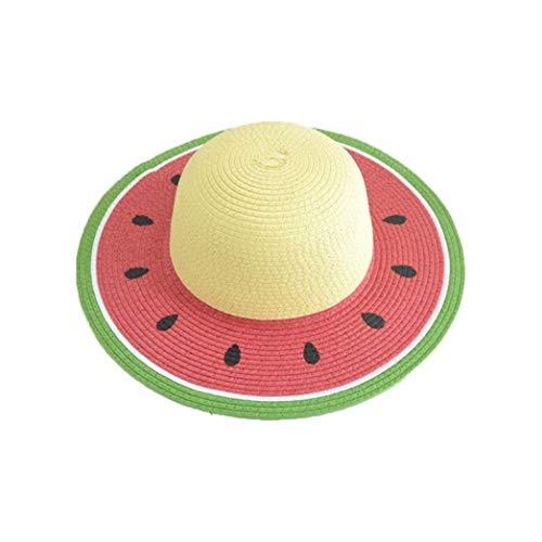 Summer Straw Sun Visor Hat Watermelon Shape Family Round Top UV Protection Wide Brim Beach Bucket Cap Strap Cute