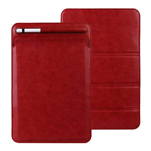 Sammid 2018 iPad 9.7 inch Sleeve Case, Sleeve iPad Case Pencil Holder, Ultra-Thin Microfiber Lining Tri-fold Stand Pouch Protective Cover Case 2017/2018 iPad 9.7 inch - Red