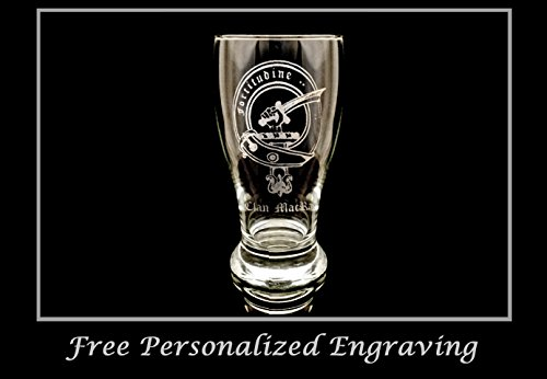 Scottish Beer (Clan MacRae Scottish Crest Pint Glass- Free Personalized Engraving, Family Crest, Pub Glass, Beer Glass, Custom Beer Glass)