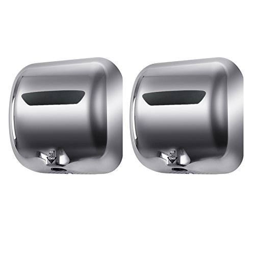 Tek Motion Commercial Premium Quality Heavy Duty Durable Hand Dryer Stainless Steel 1800w (2 pack) (silver white)