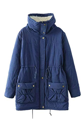 Chaqueta Azul Elegantes Adelina Fashion Abrigos Espesar Outdoor Termica Invierno Parka Manga Stand Casual Outerwear Cuello Oscuro Larga Retro Mujer Anchas drwZUqr