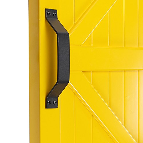 "WINSOON Simple Sliding Barn Door Handle, Comfortable Handy Touch Gate Handle Pull Set, Premium Black Carbon Stainless Steel Body, Snugly Fits 9"" Hole Spaces Wood Doors, Replace Old Pull Handles"