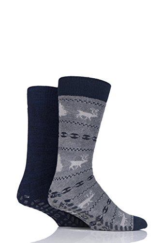 Mens 2 Pair Totes Original Plain and Patterned Slipper Socks - Grey One Size