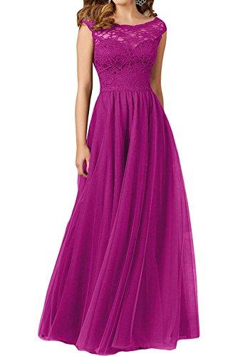 Linie Braut Rock mia Chiffon Hundkragen Abendkleider Brautmutterkleider Damen A La Traube Pink Lang Spitze Brautjungfernkleider 75Wdq1Ow